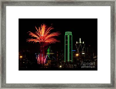 Dallas Texas - Fireworks Framed Print by Anthony Totah