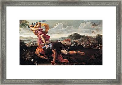 David And Goliath Framed Print by Guillaime Courtois