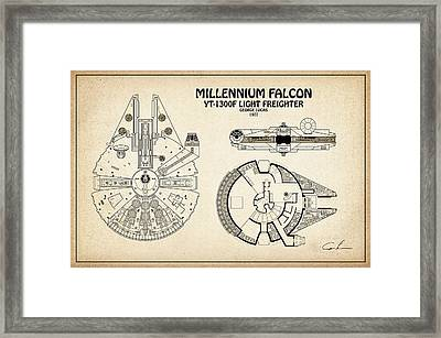 Diagram Illustration For The Millennium Falcon From Star Wars Framed Print