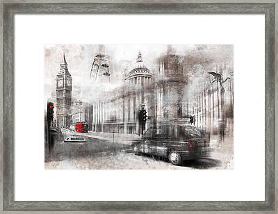 Digital-art London Composing Framed Print by Melanie Viola