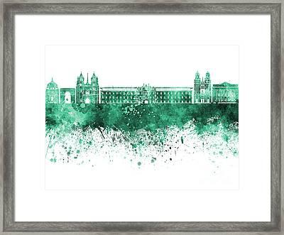 Dijon Skyline In Watercolor Background Framed Print