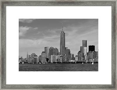 Downtown Manhattn - Freedom Tower Framed Print by Yue Wang
