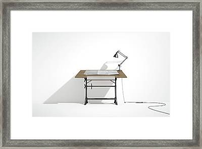 Drafting Desk Lamp And Paper Framed Print by Allan Swart