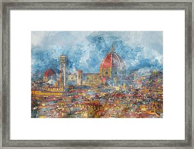 Duomo In Florence Italy Framed Print by Brandon Bourdages