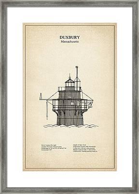 Duxbury Lighthouse - Massachusetts - Blueprint Drawing Framed Print