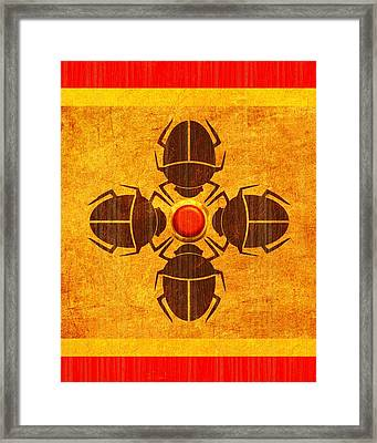 Framed Print featuring the digital art Egyptian Scarab Beetle by John Wills