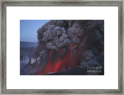Eyjafjallajökull Eruption, Summit Framed Print by Martin Rietze