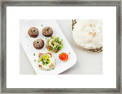Falafel Hummus Houmus Starter Snack Food Mezze Platter Framed Print