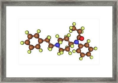 Fentanyl, Molecular Model Framed Print by Scimat