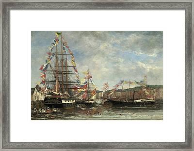Festival In The Harbor Of Honfleur Framed Print by Eugene Boudin