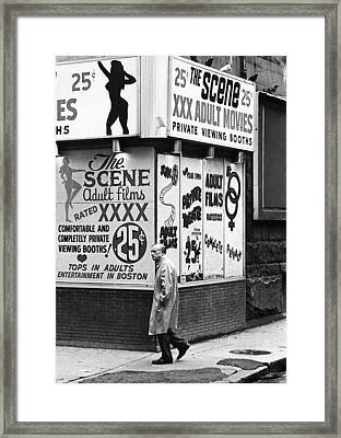 Film Homage Hard Core 1979 Porn Theater The Combat Zone Boston Massachusetts 1977 Framed Print