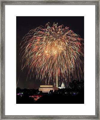 Fireworks Over Washington Dc On July 4th Framed Print by Steven Heap
