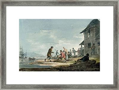 Fishermen At Work On The Foreshore Framed Print