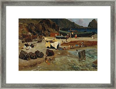 Fishing Boats At Capri Framed Print by Albert Bierstadt