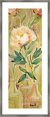 Framed Print featuring the painting 3 Flowers by Maria Langgle