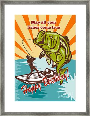 Fly Fisherman On Boat Catching Largemouth Bass Framed Print by Aloysius Patrimonio