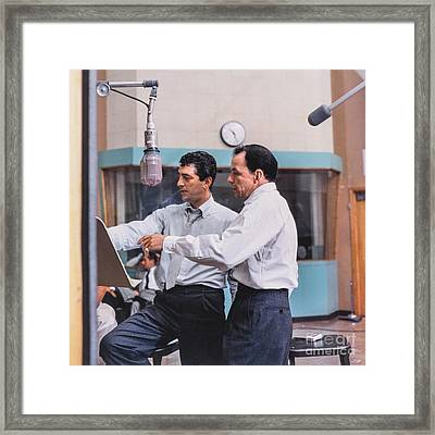 Frank Sinatra And Dean Martin At Capitol Records Studios Framed Print by The Titanic Project