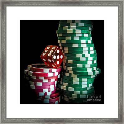 Gambling Chip. Framed Print by Bernard Jaubert