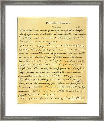 Gettysburg Address Framed Print