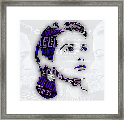 Grace Kelly Movies In Words Framed Print by Marvin Blaine