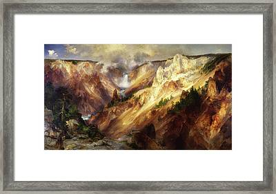 Framed Print featuring the painting Grand Canyon Of The Yellowstone by Thomas Moran