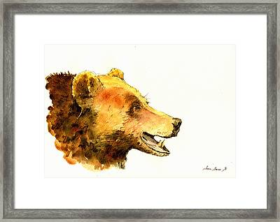 Grizzly Bear Watercolor Painting Framed Print