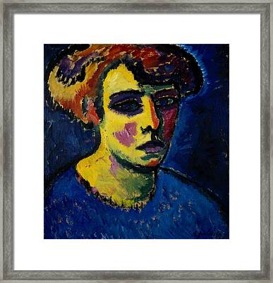 Head Of A Woman Framed Print by Alexej von Jawlensky