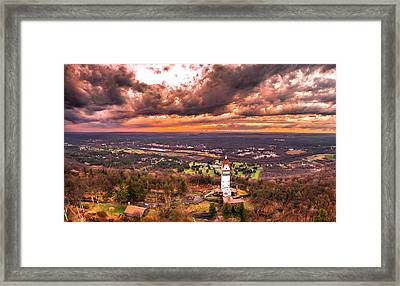 Framed Print featuring the photograph Heublein Tower, Simsbury Connecticut, Cloudy Sunset by Petr Hejl