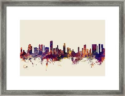 Honolulu Hawaii Skyline Framed Print by Michael Tompsett