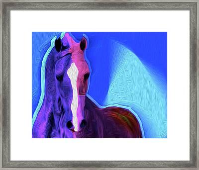 Horse Blue By Nixo Framed Print