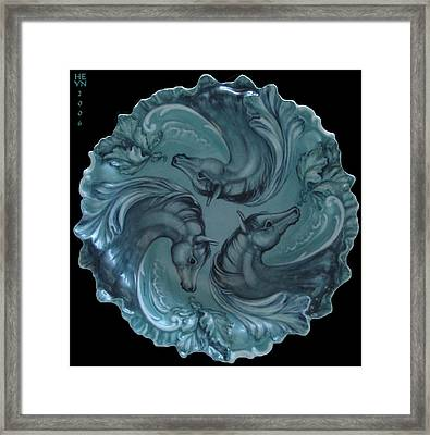 3 Horses In Teal Framed Print by Shirley Heyn