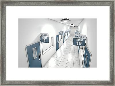 Hospital Hallway Framed Print by Allan Swart