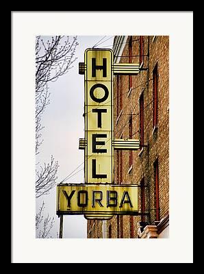 Hotel Yorba Framed Prints