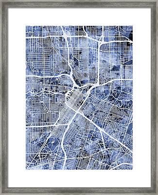 Houston Texas City Street Map Framed Print by Michael Tompsett