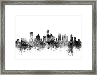 Houston Texas Skyline Framed Print by Michael Tompsett