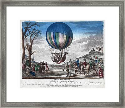 Hydrogen Balloon, 1783 Framed Print by Granger