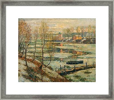 Ice In The River Framed Print
