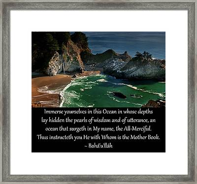 Immerse Yourselves In This Ocean Framed Print by Baha'i Writings As Art