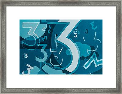 3 In Blue Framed Print