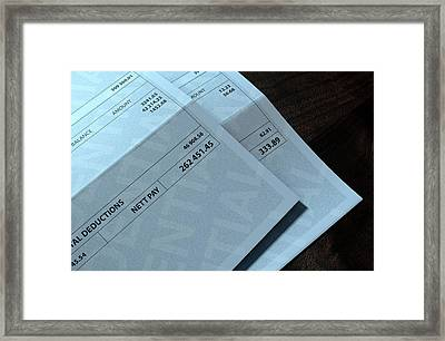 Income Inequality Paychecks Framed Print by Allan Swart