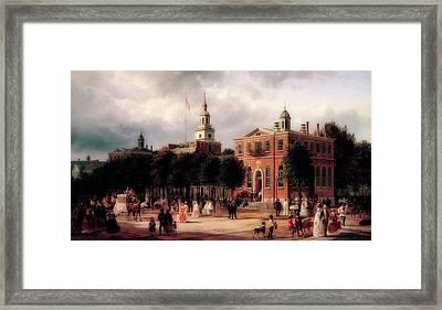 Independence Hall In Philadelphia Framed Print by Ferdinand Richardt