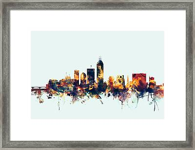 Indianapolis Indiana Skyline Framed Print by Michael Tompsett