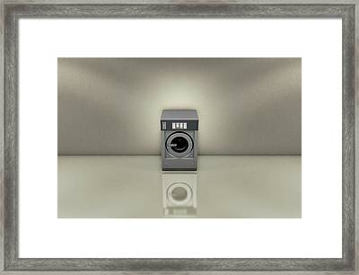 Industrial Washer In Empty Room Framed Print
