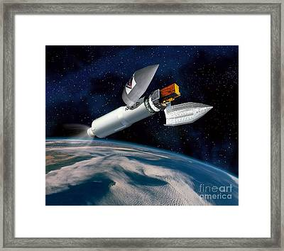 Integral Satellite Launch, Artwork Framed Print