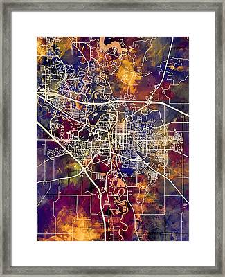 Iowa City Map Framed Print