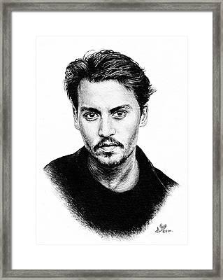 Johnny Depp Bw Version Framed Print