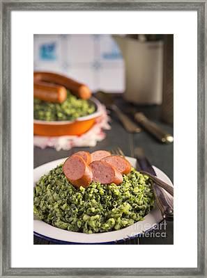 Kale With Smoked Sausage Or Boerenkool Met Worst Framed Print