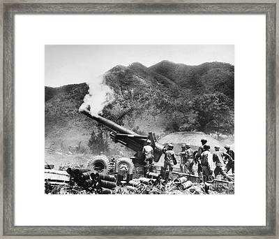 Korean War: Artillery Framed Print by Granger