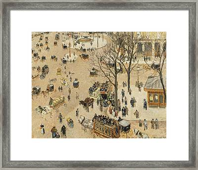 La Place Due Theatre Francais  Framed Print by Camille Pissarro