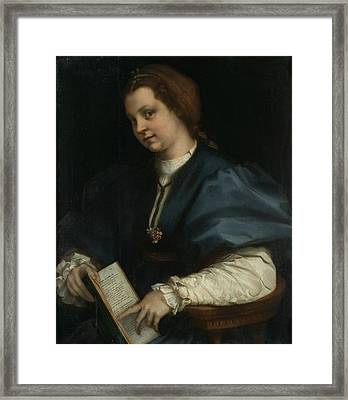 Lady With A Book Of Petrarch's Rhyme Framed Print